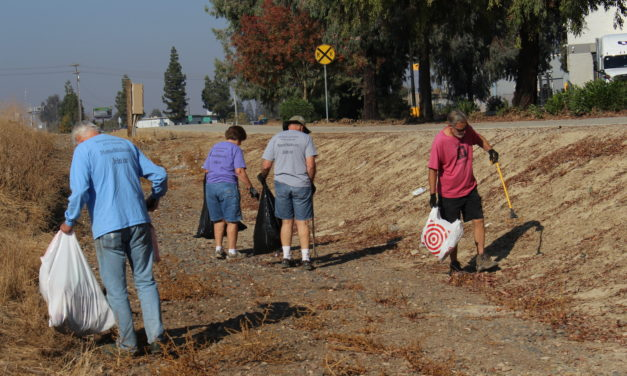 Volunteers clean-up walking, bike path in Merced
